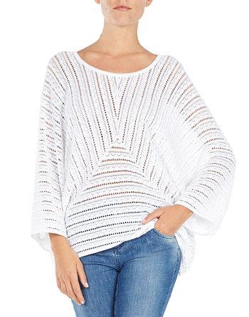 Pointelle-knit Kimono Sweater