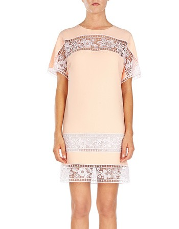 Crepe Dress With Embroidered Lace
