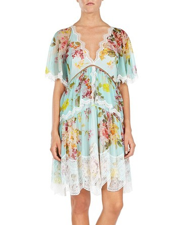 Printed Silk Chiffon Dress With Lace Trimmings
