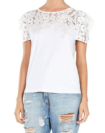 Embroidered And Lace Panelled Jersey Top