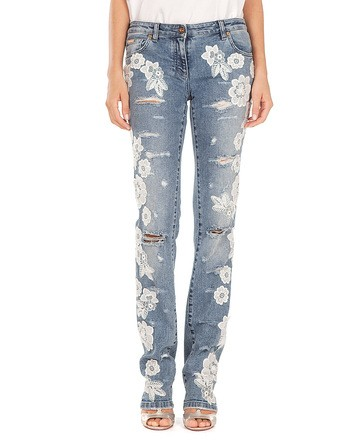 Ripped Denim Pants With Lace Details