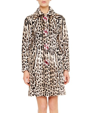 Leopard Print Kid Fur Coat With Jewel Broochs