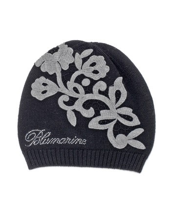 Wool Hat With Macramé Lace Flowers