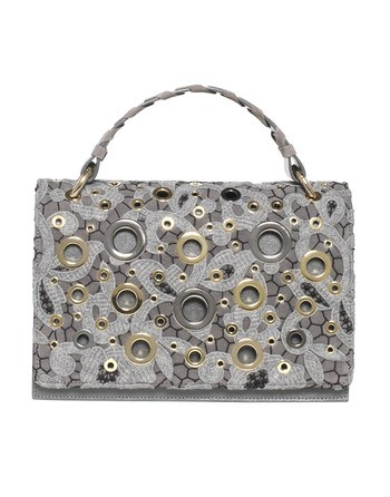 Leather Bag And Macramé Lace With Golden Eyelets