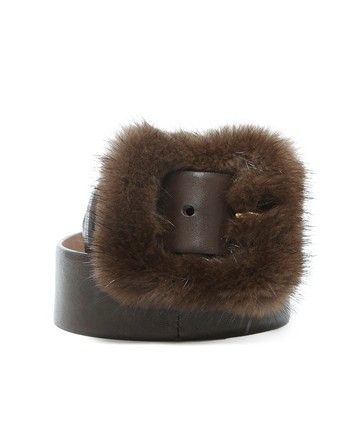 Leather And Mink Belt