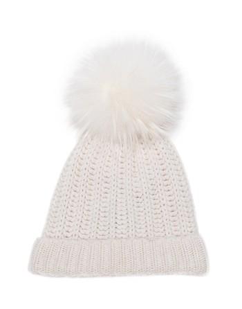 Wool Hat With Fur Pom Pom